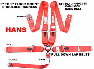 Floor Mount Racing Harness Red 5 Point Cam Lock To Be Used With Restraint Device