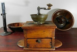 Unique Antique Coffee Grinder Hand Crank Table Counter Top Flap Sides Freres