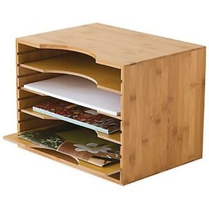 Lipper Bamboo File Organizer 4 Dividers Adjustable Natural Office Wood Storage