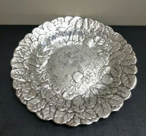 Reed Barton Silverplate Repousse Strawberry Serving Platter Centerpiece Bowl