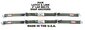 Military Green Seat Belts 2 Latch Link Style Buckles Snap In Anchors