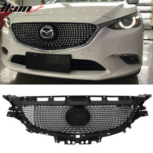 Fits 16 18 Mazda 6 Front Bumper Hood Mesh Grille Grill Guard Abs