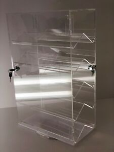Acrylic Counter Top Locking Jewelry Display Case 5 Shelves Spinner Vertical