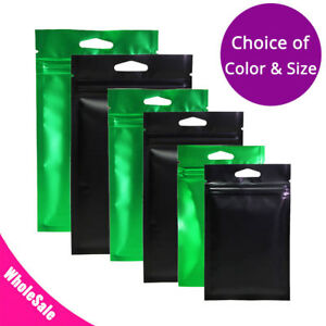 Multi size Glossy Clear Front Matte Color Back Foil Zip Lock Bag W Hang Hole M