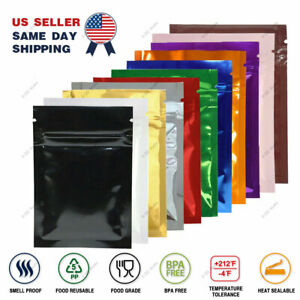Multi size Both Sided Colored Glossy Mylar Foil Zip Lock Bag Wholesale Z01