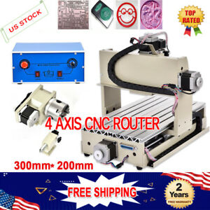 Mini 4 Axis 300w Cnc 3020 Router Engraver Drill Mill Diy 3d Carving Cutter Mach3