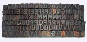 123 Piece Vintage Letterpress Wood Wooden Type Printing Blocks 17 M m used 871