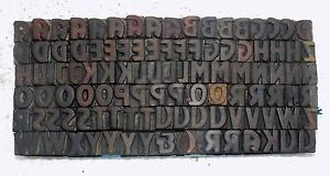108 Piece Vintage Letterpress Wood Wooden Type Printing Blocks 16 M m Used 873
