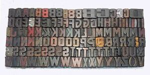 116 Piece Vintage Letterpress Wood Wooden Type Printing Blocks 16 M m Used 875