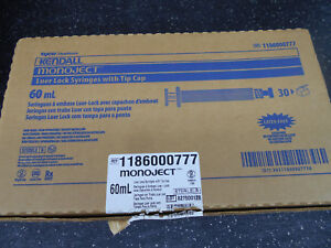 Kendall Monoject 1186000777 Syringe 60ml Luer Lock With Tip Cap 30 bx