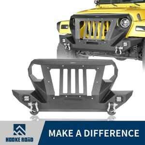 Hooke Road Front Bumper Grille Guard W Winch Plate For 97 06 Jeep Wrangler Tj