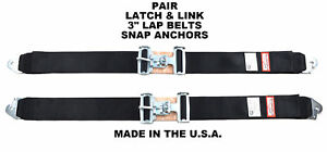 Classic Car 3 Lap Belts Sfi 16 1 Snap In Anchors Black 2 Point Seat Belts Pair