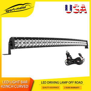 Curved 42inch Led Work Light Bar Spot Flood Combo Driving Lamp 40 44 Harness