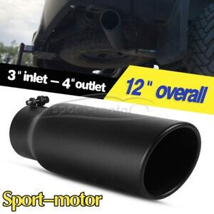 3 Inlet 4 Outlet 12 Inch Long Rolled End Angle Cut Exhaust Tip Tail Pipe Black