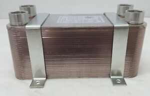 50 Plate Water To Water Brazed Plate Heat Exchanger 1 Fpt Ports W Brackets