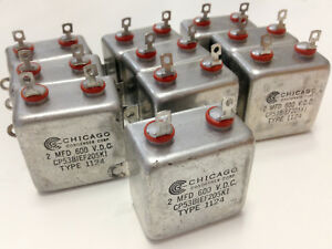 Lot Of 10 2mfd 600v Oil Capacitor Type Cp53 Mil Spec Bathtub Style