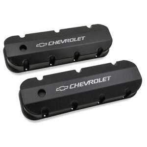 Holley Valve Cover Set 241 281 Fabricated Black Anodized Aluminum For Chevy Bbc