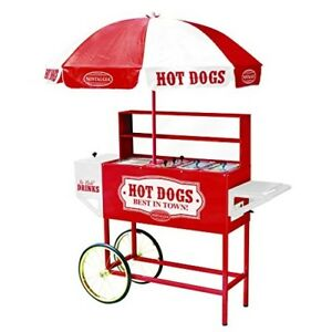 Red Hot Dog Vending Cart Mobile Concession Carnival Commercial Roller Bun Tray
