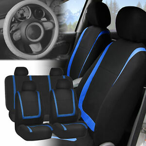 Car Seat Covers For Auto Blue Black Full Set W gray Leather Steering Wheel