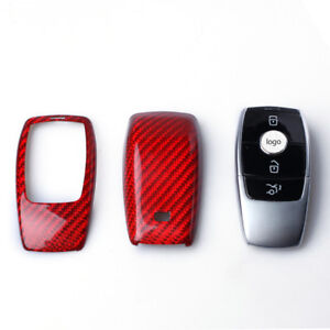 Red 1pc Carbon Fiber Remote Key Fob Case Cover Shell For Mercedes Benz E W213