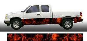Real Flame Fire Rocker Panel Graphic Decal Wrap Kit Truck Suv
