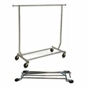 Openbox Collapsible folding Rolling Clothing Garment Rack Salesmans Rack