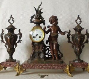 Antique French Empire Bronze Figurine Red Marble Spelter Mantel Clock Urns