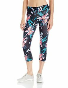 Pl Movement By Pink Lotus Women s Tropical Floral Capri With Black Ground Small