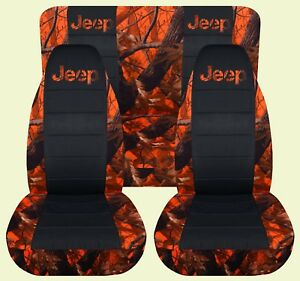 Fits Jeep Wrangler Yj Front Rear Car Seat Covers Combo Camo Black With Design