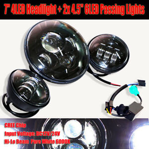7 Led Daymaker Projector Headlight 4 5 Passing Light Fit Harley Electr
