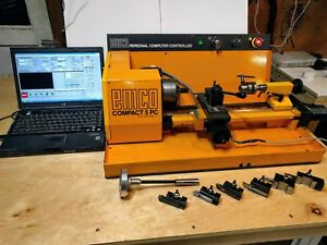 Emco Compact 5 Pc Cnc Lathe W Laptop Tooling Mt2 Collet Drawbar W threading