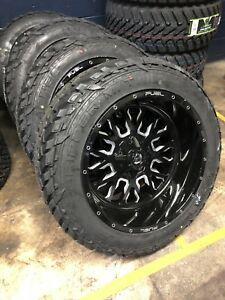 22 22x12 D611 Stroke Black Wheels 35 Fuel Mt Tire Package 6x5 5 Chevy Gmc 6lug