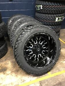 22 22x12 D611 Stroke Black Wheels 35 Fuel Mt Tire Package 6x135 Ford F150 6lug