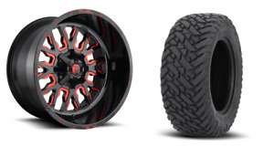 22 22x12 D612 Stroke Red Wheels 33 Fuel Mt Tire Package 8x6 5 Chevy Gmc 8lug