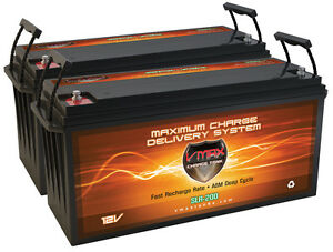Qty 2 Slr200 Solar Wind Power Backup 400ah At 12v Deep Cycle Vmax Agm Battery