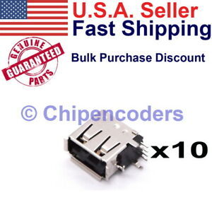 10 Pcs Usb Type a Female Socket Connector Pcb Mount Vertical board Space Saver
