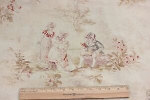 Antique C1890 French Cotton Romantic People Toile Fabric Marie Antoinette Style
