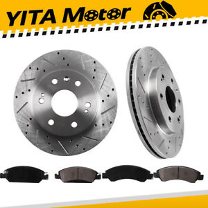 Front L R Drilled Slotted Brake Rotors Ceramic Pads For 2wd 4wd 4x4 Chevy Gmc