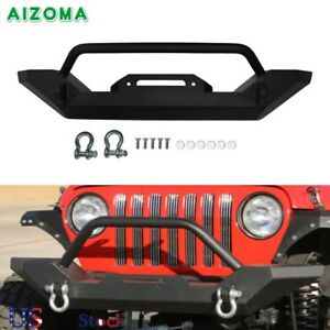 Front Bumper Winch D Ring Mount Textured Plate For Jeep Tj Yj Wrangler 1987 06