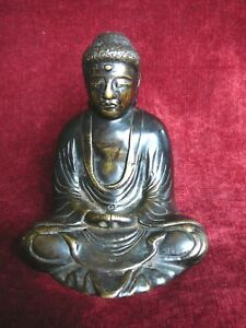 Antique Japanese Seated Amida Bronze Buddha 19th Century