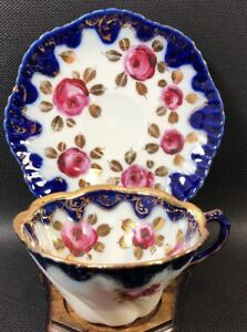Tea Cup Saucer Cobalt Edging Swirl Embossed Cup Gold Hand Painted Roses 14cc
