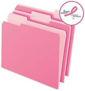 100 Pink File Folders 1 3 Top Tab Two Tone Jacket Color Letter Size