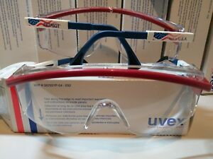 12 Pair Uvex S1169c Astrospec 3000 Safety Glasses Patriot Frame Clear Lens nib