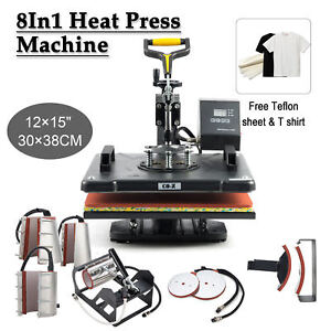 8 In 1 T Shirt Heat Press Machine For Mug Hat Plate Cap Mouse Pad New