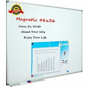 Lockways White Board Dry Erase 48 X 36 Magnetic Whiteboard X 3 Silver Frame