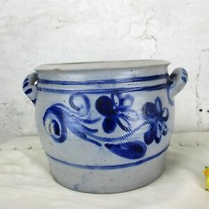 Antique French Stoneware Earthenware Crock Jar Lard Cobalt Gray Decorative