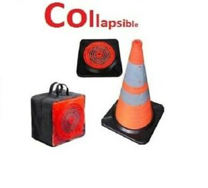 Light Up Led Traffic Cone First Responder Heavy Duty Base 28 Collapsible Case
