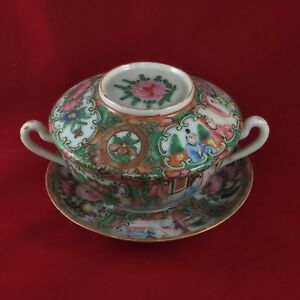 Antique Chinese Rose Medallion Double Handle Covered Bowl Or Cup With Saucer