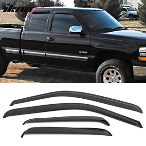 Fits 01 07 Chevy Silverado Gmc Sierra Extended Cab Acrylic Window Visors 4pc Set