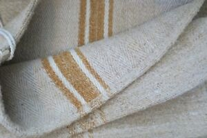 Antique European Hemp Grain Sack Gorgeous Reversible Caramel Tan Brown Stripes
